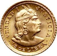 reverse of 1/5 Libra - Trade Coinage (1906 - 1969) coin with KM# 210 from Peru. Inscription: VERDAD 1 JUSTICIA · 1/5 DE LIBRA ·