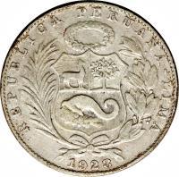 obverse of 1 Sol (1922 - 1923) coin with KM# 217 from Peru. Inscription: REPUBLICA PERUANA - LIMA 1923