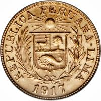 obverse of 1 Libra (1898 - 1969) coin with KM# 207 from Peru.