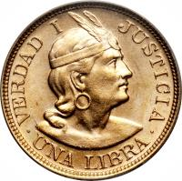 reverse of 1 Libra (1898 - 1969) coin with KM# 207 from Peru.