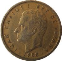 obverse of 100 Pesetas - Juan Carlos I - Denomination CIEN (1982 - 1990) coin with KM# 826 from Spain. Inscription: JUAN CARLOS I REY DE ESPAÑA · 1986 ·