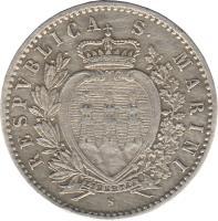 obverse of 50 Centesimi (1898) coin with KM# 3 from San Marino. Inscription: RESPVBLICA S. MARINI LIBERTAS S