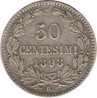 reverse of 50 Centesimi (1898) coin with KM# 3 from San Marino. Inscription: 50 CENTESIMI 1898 R