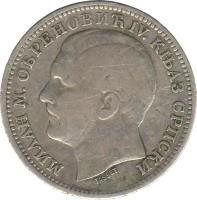 obverse of 1 Dinar - Milan Obrenović IV (1879) coin with KM# 10 from Serbia. Inscription: МИЛАН М. ОБРЕНОВИЋ IV. КЊАЗ СРПСКИ TASSET