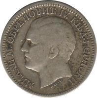 obverse of 2 Dinara - Milan Obrenović IV (1879) coin with KM# 11 from Serbia. Inscription: МИЛАН М. ОБРЕНОВИЋ IV. КЊАЗ СРПСКИ TASSET