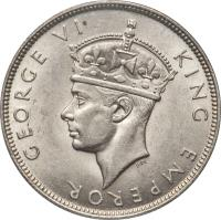 obverse of 1 Rupee - George VI (1939) coin with KM# 4 from Seychelles. Inscription: GEORGE VI KING EMPEROR