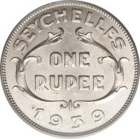 reverse of 1 Rupee - George VI (1939) coin with KM# 4 from Seychelles. Inscription: SEYCHELLES ONE RUPEE 1939