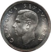 obverse of 2 1/2 Shillings - George VI - Type 1 denomination (1948 - 1950) coin with KM# 39.1 from South Africa. Inscription: GEORGIVS SEXTUS REX HP
