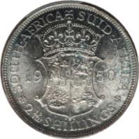 reverse of 2 1/2 Shillings - George VI - Type 1 denomination (1948 - 1950) coin with KM# 39.1 from South Africa. Inscription: SOUTH-AFRICA SUID-AFRIKA 1950 KG 2½ SHILLINGS