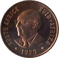 obverse of 1/2 Cent - Nicolaas Johannes Diederichs (1979) coin with KM# 97 from South Africa. Inscription: SOUTH AFRICA · SUID-AFRIKA L.D.L. 1979