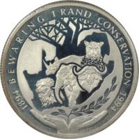 reverse of 1 Rand - Conservation - Protea Silver Bullion (1994) coin with KM# 167 from South Africa. Inscription: 1894 BEWARING 1 RAND CONSERVATION 1994 LL