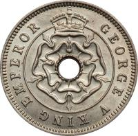 obverse of 1/2 Penny - George V (1934 - 1936) coin with KM# 6 from Southern Rhodesia. Inscription: GEORGE V KING EMPEROR