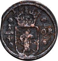 reverse of 1/4 Öre - Christina I (1633 - 1636) coin with KM# 152 from Sweden. Inscription: 1634 1/4 ÖR