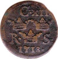 obverse of 1/6 Öre Silfwermynt - Carl XII (1708 - 1718) coin with KM# 334 from Sweden. Inscription: C · XII R · S · 1718