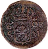 reverse of 1/6 Öre Silfwermynt - Carl XII (1708 - 1718) coin with KM# 334 from Sweden. Inscription: 1/6 ÖR S · M ·