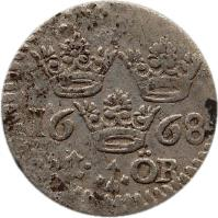 reverse of 1 Öre - Carl XI (1665 - 1685) coin with KM# 250 from Sweden. Inscription: 1668 I ÖR