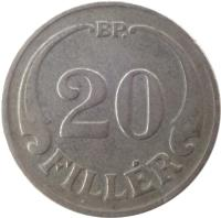 reverse of 20 Fillér - Miklós Horthy (1926 - 1940) coin with KM# 508 from Hungary. Inscription: BP. 20 FILLÉR