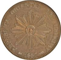 obverse of 20 Centésimos (1857) coin with KM# 9 from Uruguay. Inscription: REPUBICA ORIENTAL DEL URUGUAY 1857