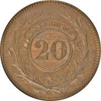 reverse of 20 Centésimos (1857) coin with KM# 9 from Uruguay. Inscription: CENTESIMOS 20 D