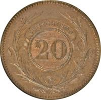 reverse of 20 Centésimos (1857) coin with KM# 9 from Uruguay. Inscription: CENTESIMOS 20 D