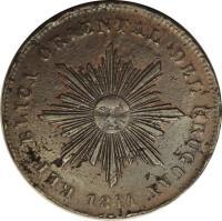 obverse of 40 Centésimos (1844) coin with KM# 3 from Uruguay. Inscription: REPUBLICA ORIENTAL DEL URUGUAY 1844