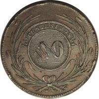 reverse of 40 Centésimos (1844) coin with KM# 3 from Uruguay. Inscription: CENTESIMOS 40