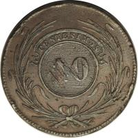 reverse of 40 Centésimos (1844) coin with KM# 3 from Uruguay. Inscription: CENTESIMOS 40