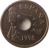 obverse of 25 Pesetas - Juan Carlos I - Ceuta (1998) coin with KM# 990 from Spain. Inscription: ESPAÑA 1998