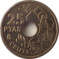 reverse of 25 Pesetas - Juan Carlos I - Ceuta (1998) coin with KM# 990 from Spain. Inscription: 25 PESETAS M CEUTA