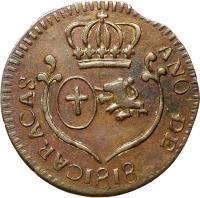 obverse of 1/4 Real - Carlos IV / Fernando VII (1802 - 1821) coin with C# 2 from Venezuela. Inscription: CARACAS ANO DE 1817