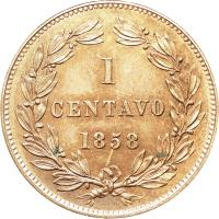 reverse of 1 Centavo (1858 - 1863) coin with Y# 7 from Venezuela. Inscription: 1 CENTAVO 1862