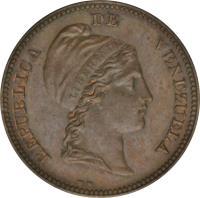 obverse of 1/2 Centavo (1843 - 1852) coin with Y# 2 from Venezuela. Inscription: REPUBLICA DE VENEZUELA LIBERTAD W W