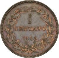 reverse of 1/2 Centavo (1843 - 1852) coin with Y# 2 from Venezuela. Inscription: 1/2 CENTAVO 1843