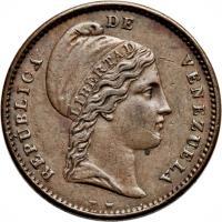 obverse of 1/4 Centavo (1843 - 1852) coin with Y# 1 from Venezuela. Inscription: REPUBLICA DE VENEZUELA