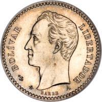 obverse of 10 Centavos (1874 - 1876) coin with Y# 13 from Venezuela. Inscription: BOLÍVAR LIBERTADOR BARRE A