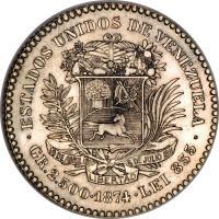 reverse of 10 Centavos (1874 - 1876) coin with Y# 13 from Venezuela. Inscription: · ESTADOS UNIDOS DE VENEZUELA · 19 DE ABRIL 1810 5 DE JULIO 1811 LIBERATAD GR.2.500 · 1876 · LEI 835