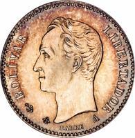 obverse of 5 Centavos (1874 - 1876) coin with Y# 12 from Venezuela. Inscription: ESTADOS UNIDOS DE VENEZUELA GR 1.250 1876 LL 835