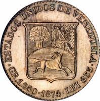 reverse of 5 Centavos (1874 - 1876) coin with Y# 12 from Venezuela. Inscription: BOLIVAR LIBERTADOR BARRE A