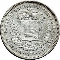 reverse of 50 Centavos (1873 - 1876) coin with Y# 15 from Venezuela. Inscription: ESTADOS UNIDOS DE VENEZUELA Gs 12,500 · 1874 · LEI 835