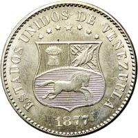 obverse of 2 1/2 Centavos (1876 - 1877) coin with Y# 26 from Venezuela. Inscription: ESTADOS UNIDOS DE VENEZUELA 1877