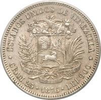 reverse of 1 Venezolano (1876) coin with Y# 16 from Venezuela. Inscription: ESTADOS UNIDOS DE VENEZUELA INDEPENDENcia LIBERTAD 5 DE JULIO 1811 28 DE MARZO 1864 DIOS Y FEDon GRAM.25 1876 LEI 900