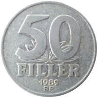 reverse of 50 Fillér (1967 - 1989) coin with KM# 574 from Hungary. Inscription: 50 FILLÉR 1978 BP.