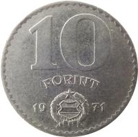 reverse of 10 Forint (1971 - 1982) coin with KM# 595 from Hungary. Inscription: 10 FORINT 1971