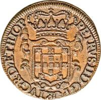 obverse of 20 Réis - Pedro II (1693 - 1699) coin with KM# 1 from Angola. Inscription: PETRVS · II · D · G · PORTVG · R · D · ÆTHIOP