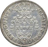 obverse of 4 Macutas - Maria I (1789 - 1796) coin with KM# 32 from Angola. Inscription: MARIA · I · D · G · REGINAE · PORT · ET · D · GUINEƷ