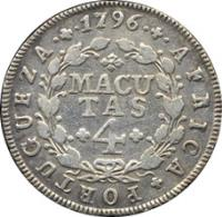 reverse of 4 Macutas - Maria I (1789 - 1796) coin with KM# 32 from Angola. Inscription: AFRICA · PORTUGUEZA · 1796 MACUTAS 4