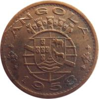 obverse of 50 Centavos (1953 - 1961) coin with KM# 75 from Angola. Inscription: ANGOLA 1958
