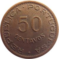 reverse of 50 Centavos (1953 - 1961) coin with KM# 75 from Angola. Inscription: REPÚBLICA · PORTUGUESA 50 CENTAVOS