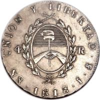 obverse of 4 Reales (1813 - 1815) coin with KM# 4 from Argentina. Inscription: EN UNION Y LIBERTAD . S . ? . 4 R 1813
