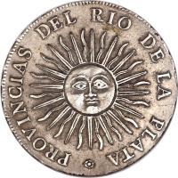 reverse of 4 Reales (1813 - 1815) coin with KM# 4 from Argentina. Inscription: PROVINCIAS DEL RIO DE LA PLATA .
